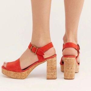 Free People Brooke Platform Sandal Red